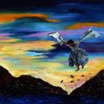 L'ange de feu—1999—Acrylique et collage sur papier—56 x 75,5 cm
