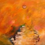 Au-dessus du grand rocher—Acrylique et collage sur toile