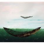 Entre ciel et mer no. 1—2012 —Collagraphie, pointe sèche, acrylique et chine collé sur papier—56 x 76 cm