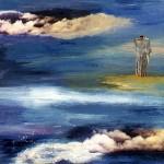 Dans les nuages—1999—Acrylique et collage sur bois—30,5 x 23 cm