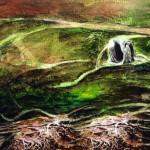 Noeuds—1999—Acrylique, encre, conté et collage sur papier—35 x 53 cm