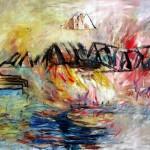 Pont de Barachois no.2—2013—Acrylique et pastel gras sur toile—84 x 110 cm