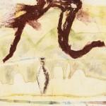 Là haut, il y a … no.—Série amphore—2007—Collagraphie, monotype, crayon et chine collé—25,5 x 25,5 cm