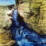 Gorge déployée—1999—Acrylique et collage sur bois—30,5 x 23 cm