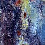 Phare de lune —1993—Acrylique et collage sur bois—41 x 9,5 cm