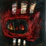 Il y a un feu dedans—1988—Médium mixte sur toile—90 x 90 cm
