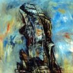 À flanc de rocher—1997—Acrylique et fusain sur toile—122 x 126 cm