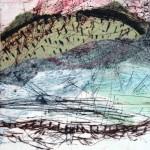 Quelque part no.11—2013—Collagraphie et chine collé—15 x 15 cm