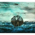 Entre ciel et mer no.2—2012—Collagraphie, pointe sèche, acrylique et chine collé sur papier—56 x 76 cm