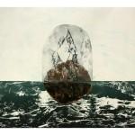 Entre ciel et mer no. 3—2012 —Collagraphie, pointe sèche et chine collé sur papier—56 x 76 cm