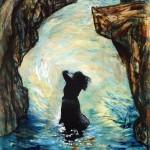 Dans les bras des rochers—1997—Acrylique, fusain et collage sur bois—122 x 76 cm