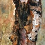 Creux no. 3—2010—Acrylique, collage et encre sur papier marouflé sur toile—30 x 30 cm