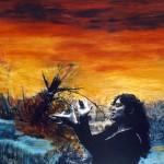 L'appel—1997—Acrylique, fusain et collage sur papier—56 x 75,5 cm