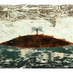 Entre ciel et mer no.5—2012—Collagraphie, pointe sèche, acrylique et chine collé sur papier—56 x 76 cm