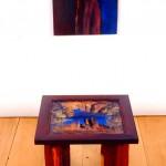 Réflection—Collectif Céline Goudreau et Hélène Plourde—1996—Acrylique, collage sur bois—100 x 40 x 40 cm