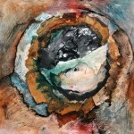 Creux no. 4—2010—Acrylique, collage et encre sur papier marouflé sur toile—30 x 30 cm