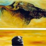 L'écho du silence—1997—Acrylique, fusain et collage sur bois—(diptyque)—103 x 116 cm