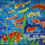 Murale environnement—Gravure polystyrène et monotype—Élèves de 3e année—École Marie-Victorin, Longueuil