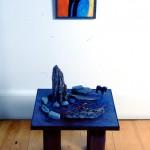 Témoin intemporel—Collectif Céline Goudreau et Hélène Plourde—1996—Acrylique, objets, collage sur bois—100 x 40 x 40 cm