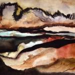 Creux no. 6—2010—Acrylique et encre sur papier marouflé sur toile—23 x 30 cm