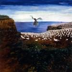 À vol d'oiseau—1999—Acrylique et collage sur bois—39,5 x 38 cm