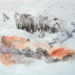 Couloir d'errance—2013—Collagraphie, acrylique, crayon et chine collé sur papier—56 x 76 cm—Propriétaire : Pierre Latulippe