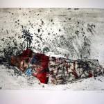 L'île flottante—2011—Collagraphie, acrylique et chine collé—65 x 100 cm