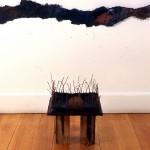 Dévastation—1996—Collectif Céline Goudreau et Hélène Plourde—100 x 100 x 40 cm—Acrylique, cire, papier, collage sur bois