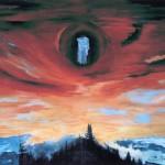 Derrière le voile—1999—Acrylique et collage sur papier—56 x 75,5 cm