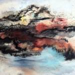 Creux no. 8—Vendu à Pascale Robitaille—2010—Acrylique et encre sur papier marouflé sur toile—23 x 30 cm