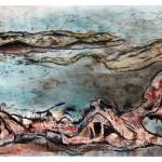 Sous le murmure no.2—Collagraphie, acrylique et crayon