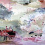 Au fond de l'eau no.1, 2018-Acrylique, crayon et collage sur toile-60 x 76 cm