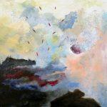 L'air du temps, 2018- Acrylique, crayon, pastel gras et collage sur toile -46 x 46 cm