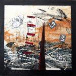 Petit chelem no.4, 2017-Collagraphie et collage sur papier, marouflé sur bois-15 x 15 cm