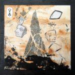 Petit chelem no.5, 2017-Collagraphie et collage sur papier, marouflé sur bois-15 x 15 cm