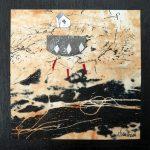 Petit chelem no.6, 2017-Collagraphie et collage sur papier, marouflé sur bois-15 x 15 cm