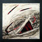 Petit chelem no.10, 2017-Collagraphie et collage sur papier, marouflé sur bois-15 x 15 cm