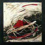 Petit chelem no.11, 2017-Collagraphie et collage sur papier, marouflé sur bois-15 x 15 cm