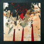 Petit chelem no.12, 2017-Collagraphie et collage sur papier, marouflé sur bois-15 x 15 cm