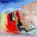 Éboulement, 2016-Acrylique et collage sur toile-76 x 96 cm