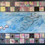 L'air no.1 - École de la Riveraine, St-Zotique, Élèves de 2e cycle du primaire, Techniques mixtes sur papier marouflé sur bois, 122 x 244 cm