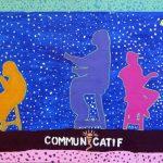 Communicatif - École internationale de Montréal, primaire, Élèves de 4e année, Acrylique et collage sur bois, 61 x 122 cm