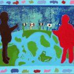 Ouvert d'esprit - École internationale de Montréal, primaire, Élèves de 4e année, Acrylique et collage sur bois, 61 x 183 cm