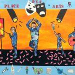 Les arts - École Notre Dame de l'Assomption, Châteauguay, Élèves du 3e cycle du primaire, Acrylique et collage sur bois, 122 x 244 cm