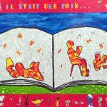 La littérature - École Notre Dame de l'Assomption, Châteauguay, Élèves du 2e cycle du primaire, Acrylique et collage sur bois, 122 x 244 cm