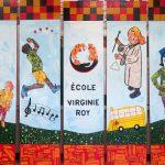 Notre école - École Virginie Roy, Île Perrot, Élèves DGA, Acrylique et collage sur bois, 243,8 x 426,7 cm