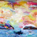 Nuages de mémoire, 2019 Acrylique, crayons, pastel gras et collage sur toile 129,5 x 160 cm