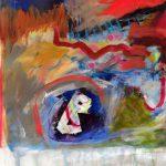 La lettre B, 2019 Acrylique, crayons et pastel gras sur toile 45,5 x 40,5 cm