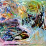 Égo-Centrique, 2018 Acrylique, crayons, pastel gras et collage sur toile 91 x 91 cm