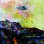 Lune rouge gaspésienne no.7, 2018 Acrylique, crayons et pastel gras sur toile 91 x 91 cm